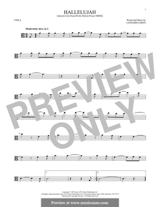 Hallelujah: For viola by Leonard Cohen