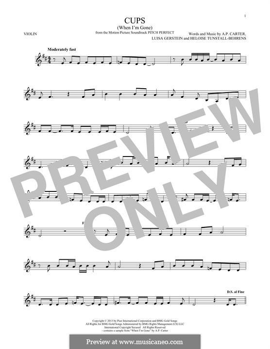 Cups (When I'm Gone): Для скрипки by A.P. Carter, Luisa Gerstein, Heloise Tunstall-Behrens