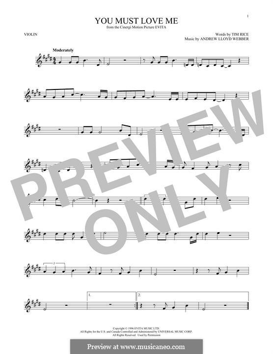You Must Love Me: Для скрипки by Andrew Lloyd Webber