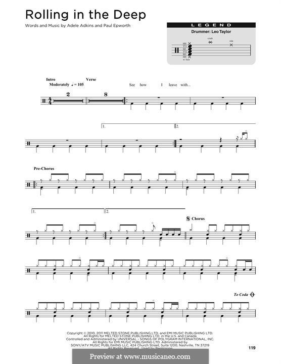Vocal-instrumental version: Drum set by Adele, Paul Epworth
