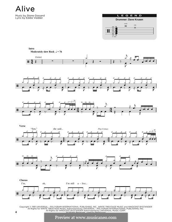 Alive (Pearl Jam): Drum set by Stone Gossard