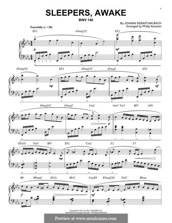 Sleepers, Awake: Для фортепиано (jazz version) by Иоганн Себастьян Бах