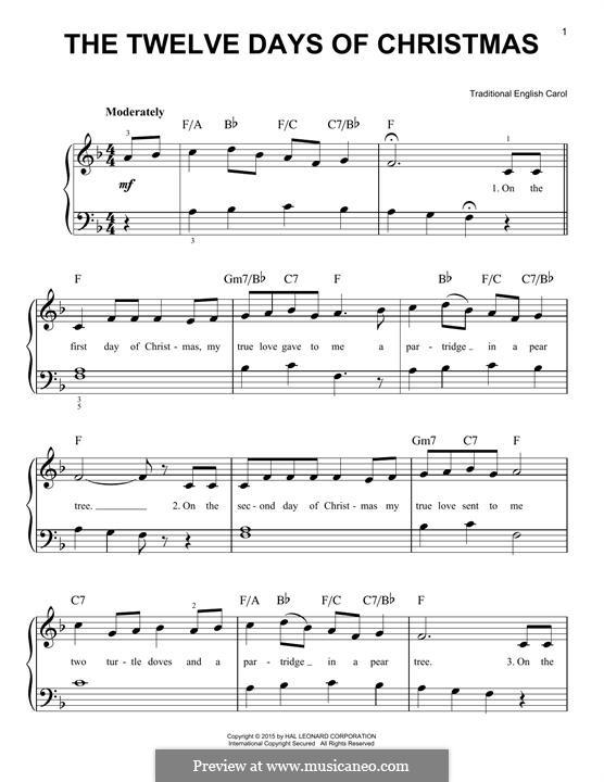 The Twelve Days of Christmas: Для фортепиано by folklore