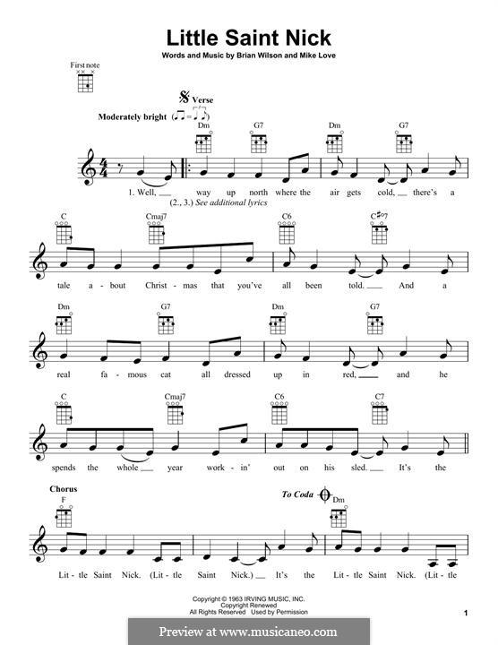 Little Saint Nick (The Beach Boys): Для укулеле by Brian Wilson, Mike Love