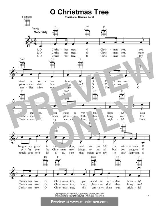 O Christmas Tree, (Printable Scores): Для укулеле by folklore