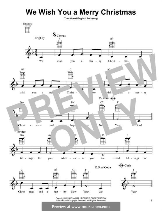 We Wish You a Merry Christmas (Printable Scores): Для укулеле by folklore
