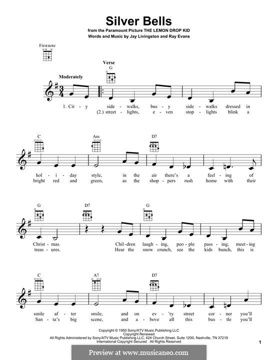Silver Bells: Для укулеле by Jay Livingston, Raymond Evans