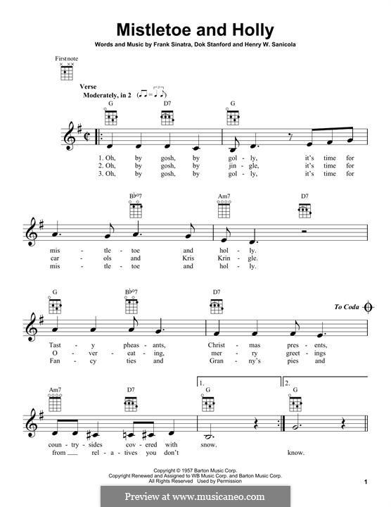 Mistletoe and Holly (Frank Sinatra): Для укулеле by Dok Stanford, Henry W. Sanicola