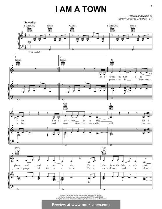 I am a Town: Для голоса и фортепиано (или гитары) by Mary Chapin Carpenter