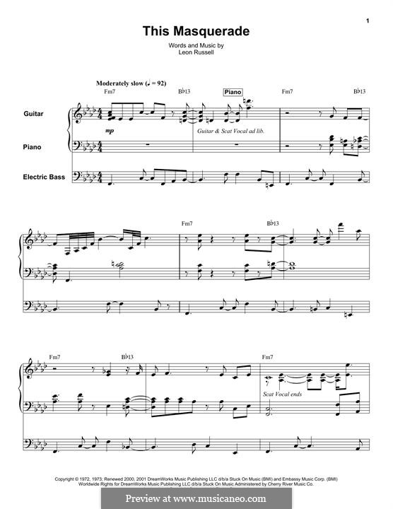 This Masquerade: For piano, guitar and bass guitar by Leon Russell