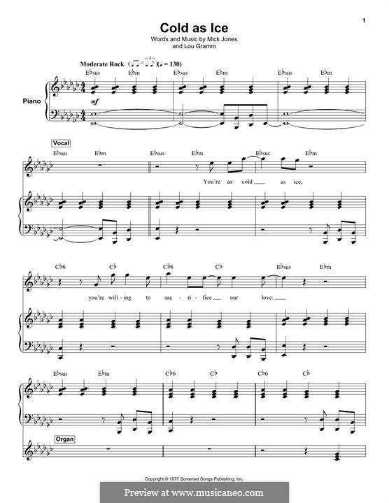 Cold as Ice (Foreigner): Для голоса и фортепиано (или гитары) by Lou Gramm, Mick Jones