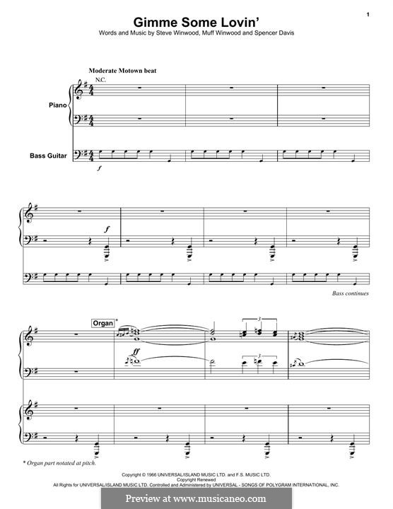 Gimme Some Lovin' (The Spencer Davis Group): For voice, piano and bass guitar by Muff Winwood, Spencer Davis, Steve Winwood