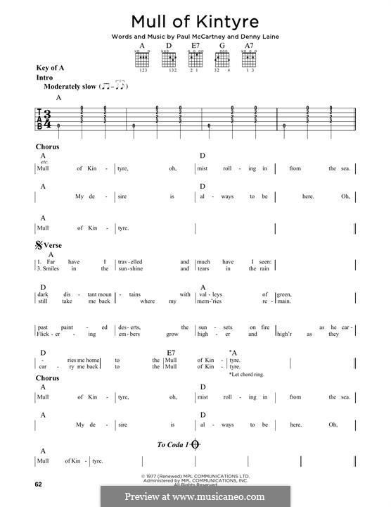 Mull of Kintyre (Wings): Гитарная табулатура by Denny Laine, Paul McCartney