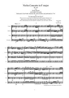 La stravaganza. Twelve Violin Concertos, Op.4: Violin Concerto No.9 in F Major. Arrangement for string quartet, RV 284 by Антонио Вивальди