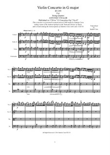 Concerto for Violin and Strings in G Major, RV 299 Op.7 No.8: Arrangement for string quartet by Антонио Вивальди