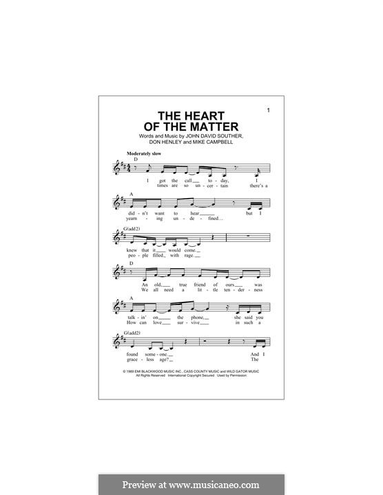The Heart of the Matter: Мелодия by John David Souther, Mike Campbell