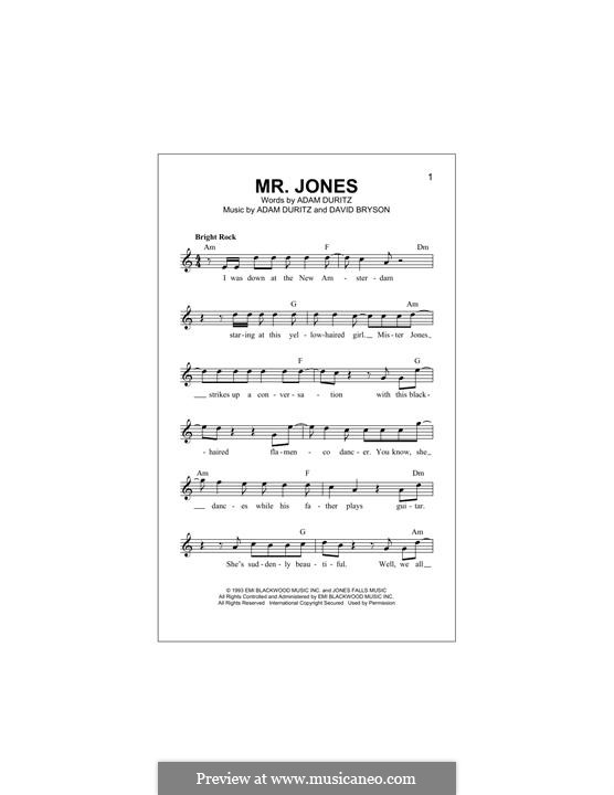 Mr. Jones (Counting Crows): Мелодия by Adam F. Duritz, David Bryson