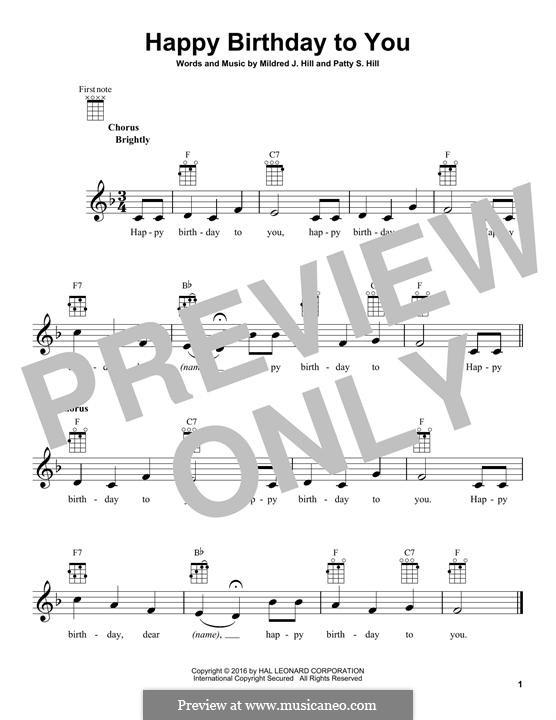 С днем рождения тебя: Для укулеле by Милдред  Хилл