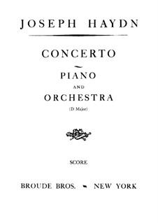 Концерт для фортепиано с оркестром No.11 ре мажор, Hob.XVIII/11: Партитура by Йозеф Гайдн