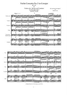 La stravaganza. Twelve Violin Concertos, Op.4: Violin Concerto No.3 in G Major – score and all parts, RV 301 by Антонио Вивальди