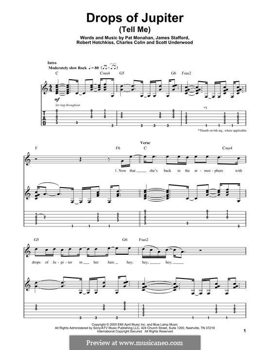 Drops of Jupiter / Tell Me (Train): Гитарная табулатура by Charlie Colin, Jimmy Stafford, Patrick Monahan, Rob Hotchkiss, Scott Underwood