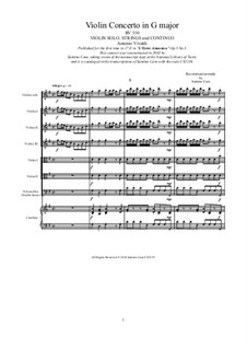 Concerto for Violin and Strings No.3 in G Major, RV 310: Score, parts by Антонио Вивальди