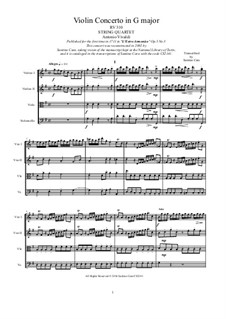 Concerto for Violin and Strings No.3 in G Major, RV 310: Arrangement for string quartet by Антонио Вивальди