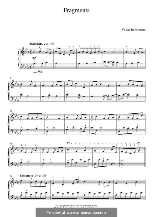 Fragments (Hauschka): Для фортепиано by Volker Bertelmann