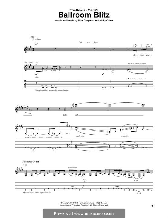 Ballroom Blitz (Sweet): For guitar with tab (Krokus) by Mike Chapman, Nicky Chinn