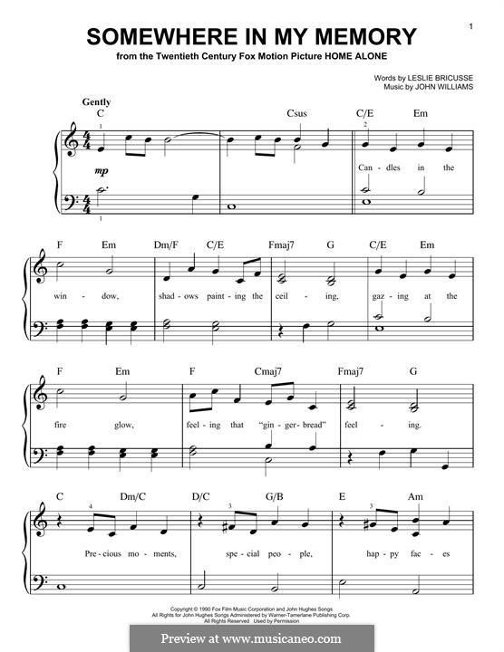 Somewhere in My Memory: Для фортепиано (легкий уровень) by John Williams