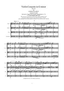La stravaganza. Twelve Violin Concertos, Op.4: Violin Concerto No.6 in G Minor. Arrangement for strings quartet, RV 316 by Антонио Вивальди
