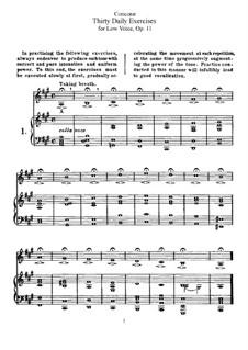 Тридцать ежедневных упражнений, Op.11: Для низкого голоса by Джузеппе Конконе