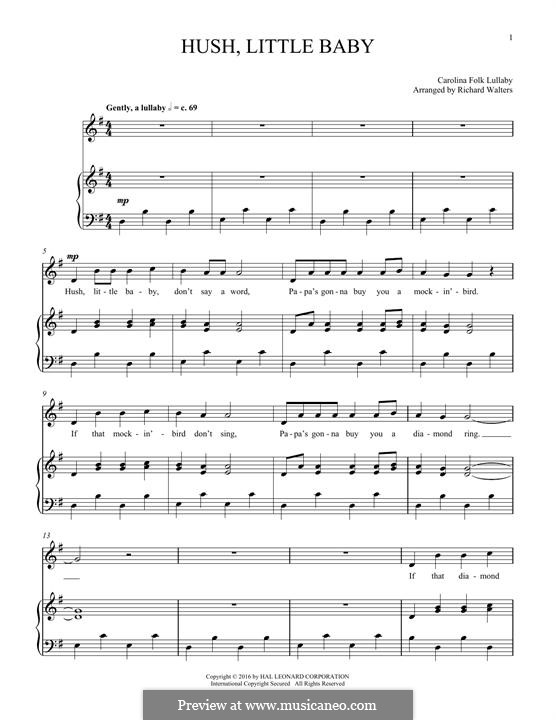 Hush Little Baby: Для голоса и фортепиано by folklore
