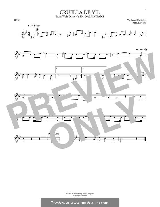 Cruella de Vil (from 101 Dalmatians): For horn by Mel Leven