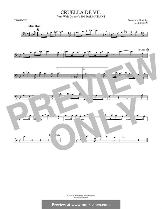 Cruella de Vil (from 101 Dalmatians): For trombone by Mel Leven