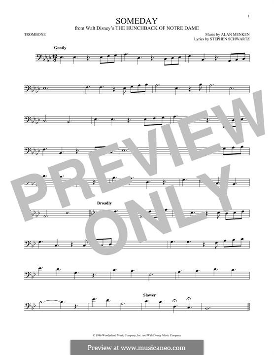 Someday (from Walt Disney's The Hunchback of Notre Dame): For trombone by Alan Menken