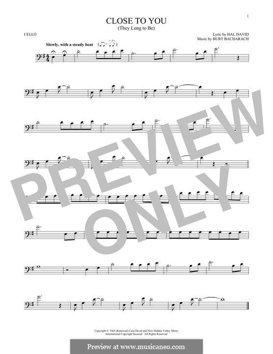 Close to You (They Long to be): Для виолончели by Burt Bacharach