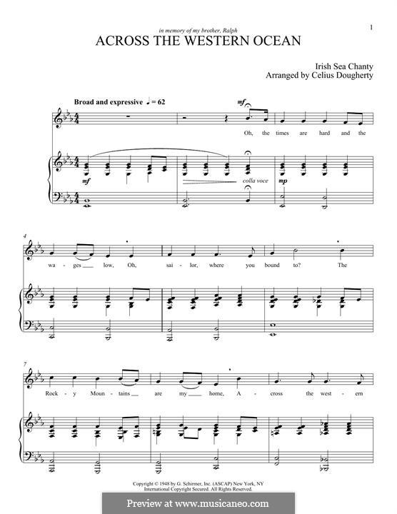 Across the Western Ocean (Five Sea Chanties, No.3): Для голоса и фортепиано by Celius Dougherty