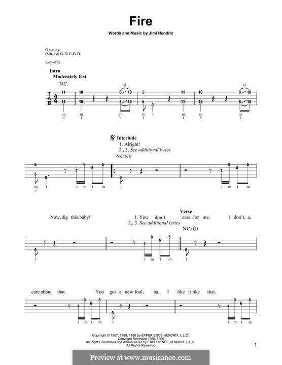 Fire: For banjo by Jimi Hendrix