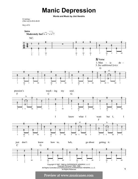 Manic Depression: For banjo by Jimi Hendrix
