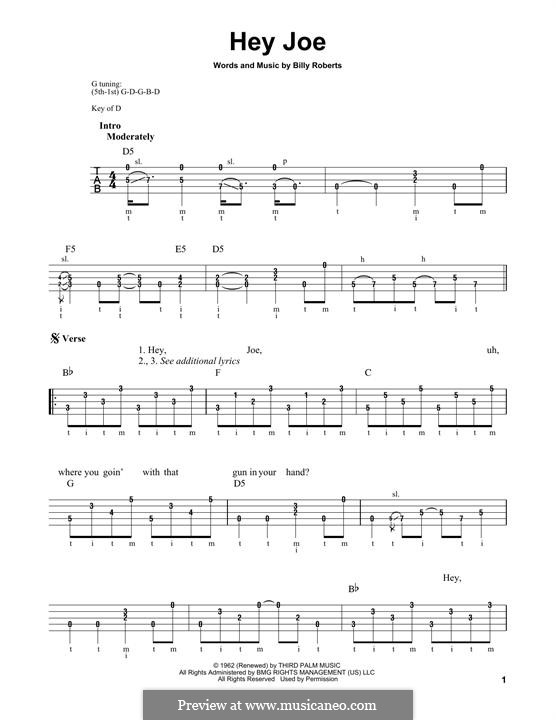 Hey Joe: For banjo by Billy Roberts