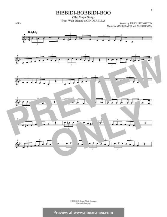 Bibbidi-Bobbidi-Boo (The Magic Song): For horn by Al Hoffman, Mack David