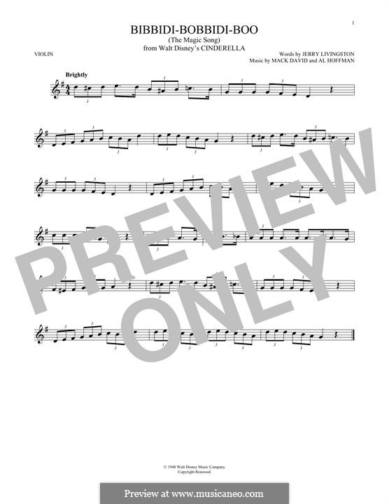 Bibbidi-Bobbidi-Boo (The Magic Song): Для скрипки by Al Hoffman, Mack David