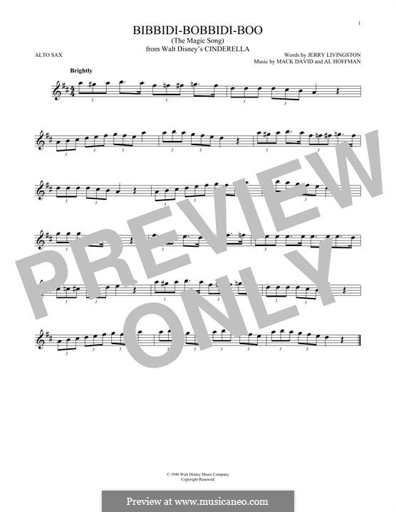 Bibbidi-Bobbidi-Boo (The Magic Song): Для альтового саксофона by Al Hoffman, Mack David