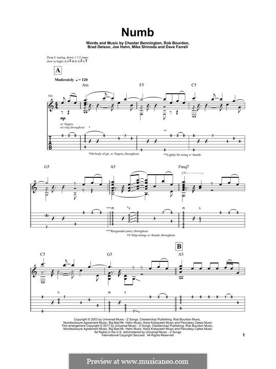 Numb (Linkin Park): Гитарная табулатура by Brad Delson, Charles Bennington, David Farrell, Joseph Hahn, Mike Shinoda, Rob Bourdon