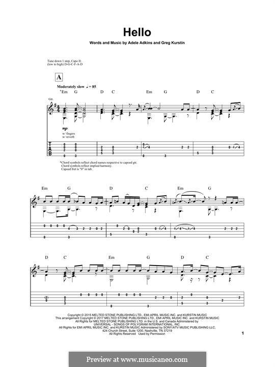 Hello: For guitar with tab (Igor Presnyakov) by Adele, Greg Kurstin