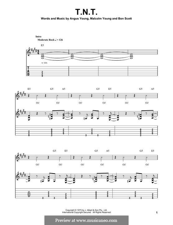 T.N.T. (AC/DC): Гитарная табулатура by Angus Young, Bon Scott, Malcolm Young