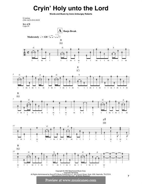 Cryin' Holy Unto the Lord (Martha Carson): For banjo by Irene Amburgey Roberts