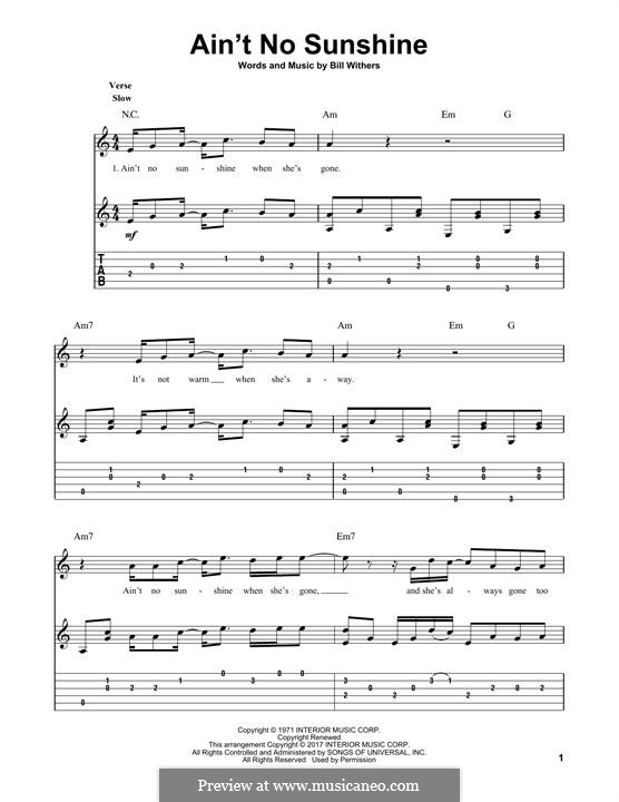 Ain't No Sunshine: Гитарная табулатура by Bill Withers