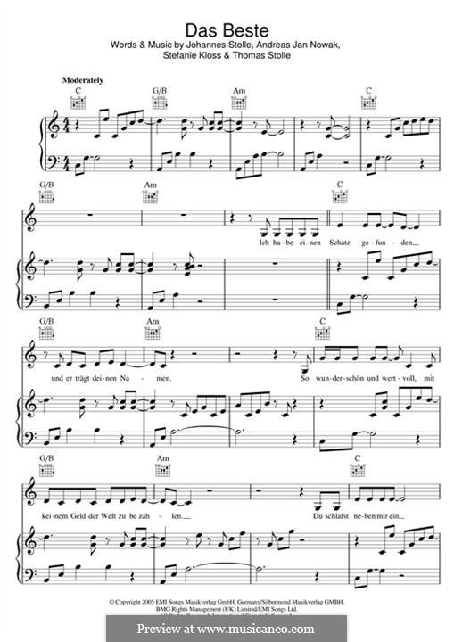 Das Beste (Silbermond): Для голоса и фортепиано (или гитары) by Johannes Stolle, Thomas Stolle, Andreas Jan Nowak, Stefanie Kloss